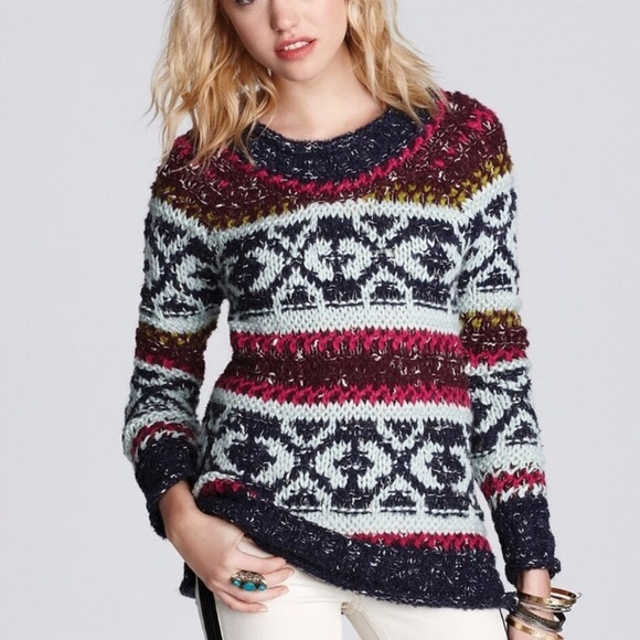Free People Silver Reed Chunky Knit sweater XS